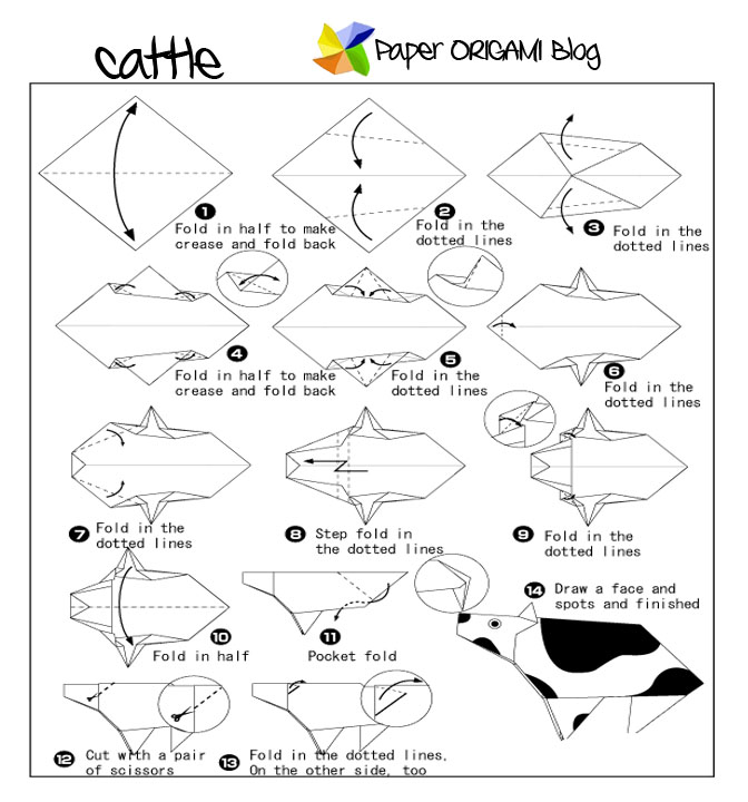 Origami cow face instructions