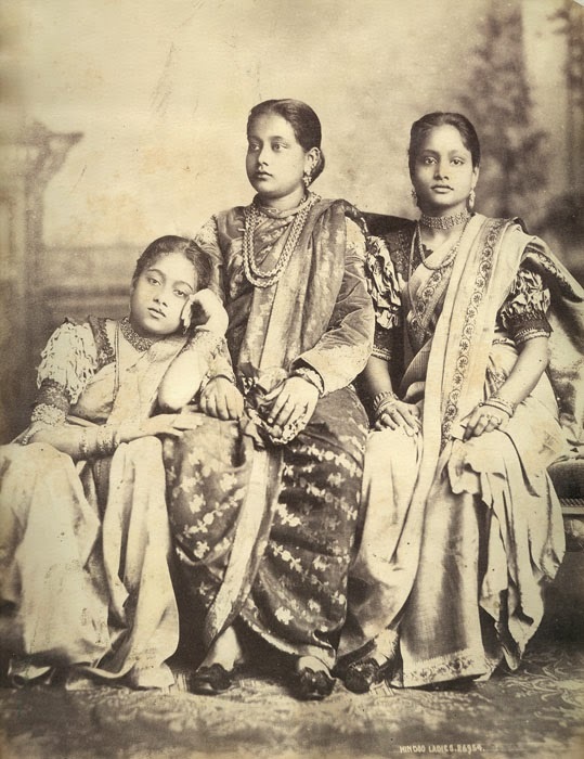 Hindu Ladies in Sari and Ornaments - c1880's