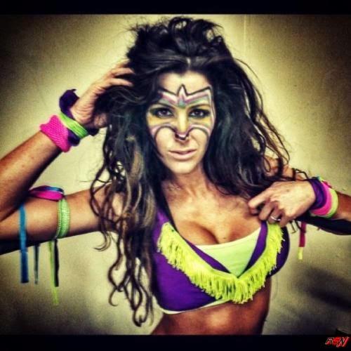 TNA Diva Brittany In Ultimate Warrior Costume.