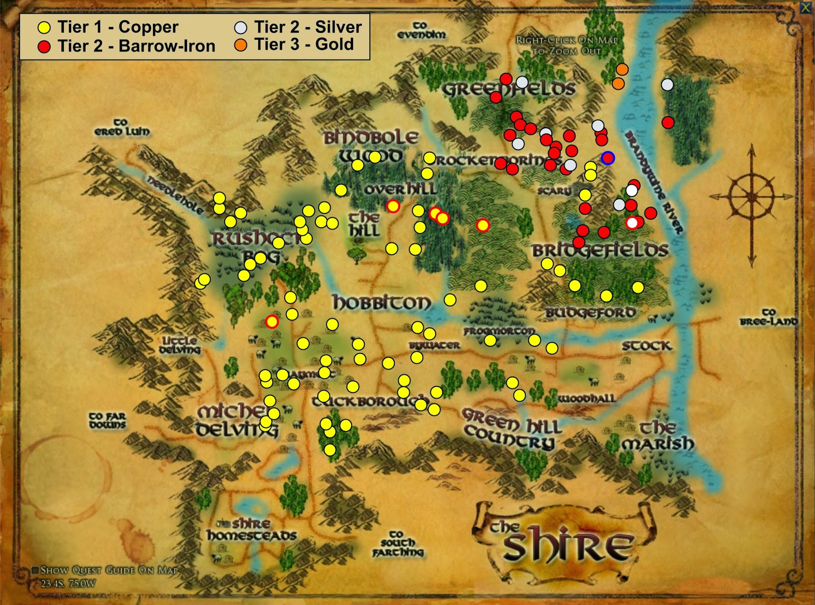 Wonderful places in lotros middle earth ore in lotro and where to ore in the shire copper barrow iron and silver and even some gold gumiabroncs Choice Image