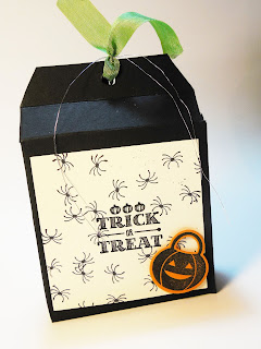 Treat box decorated with Halloween Designer Paper