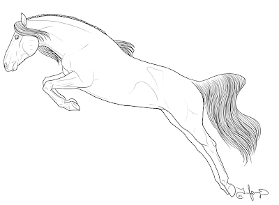 Horse Jumping Coloring Pages Printable