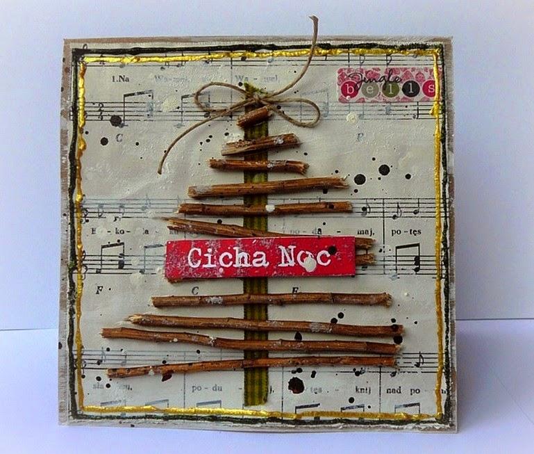 świąteczna kartka z choinką z patyczków