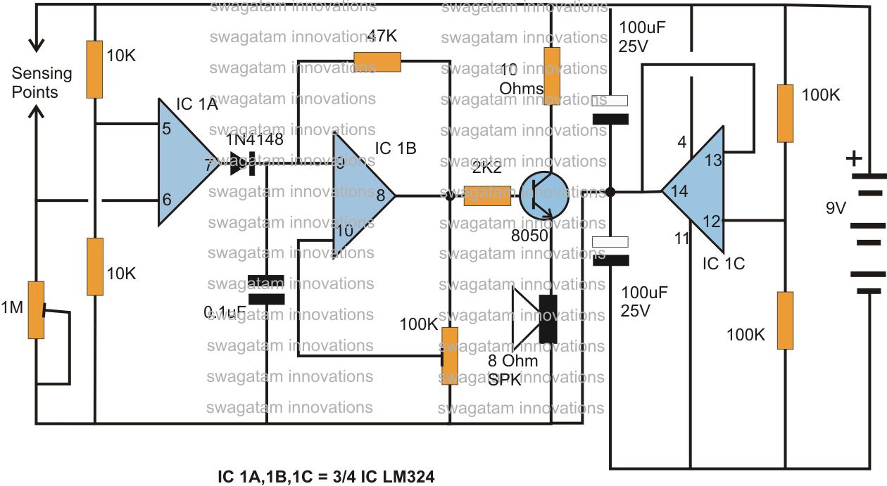 Hobby Electronic Circuits September 2013 How To Make Interesting Ic 4060 Rain Sensor Alarm Circuit Using The Lm324