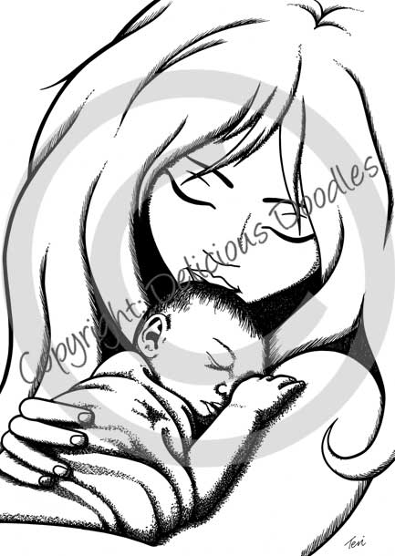 Mother Holding Baby Angel Drawing - Hot Girls Wallpaper