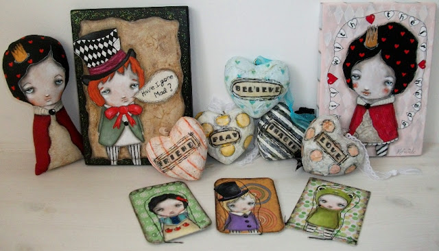 Paintings, aceos, hearts, art dolls by Micki Wilde