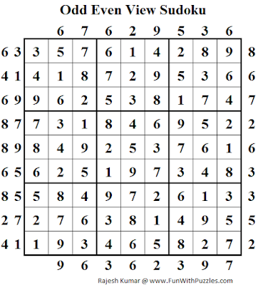 Odd Even View Sudoku (Daily Sudoku League #116) Solution