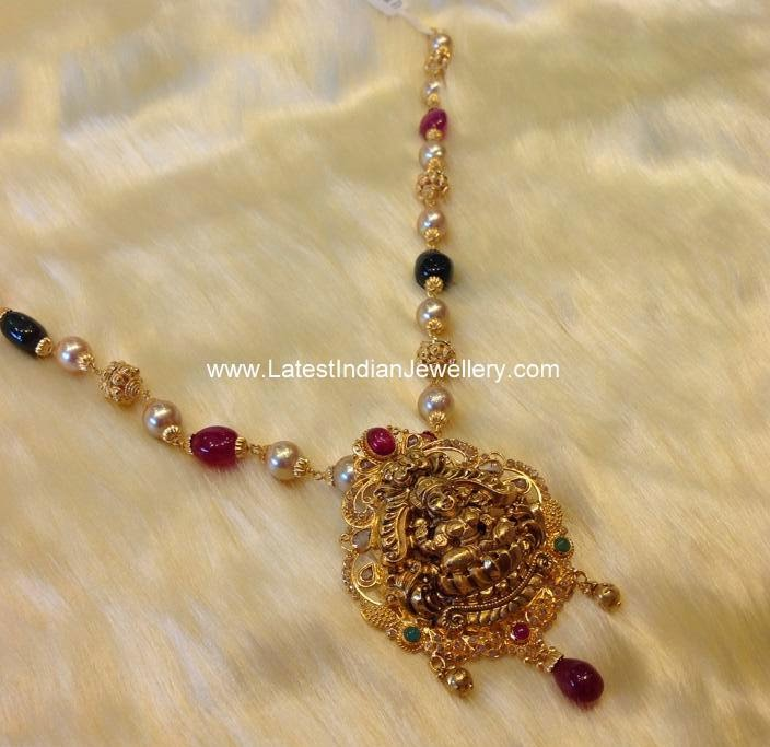 Lakshmi Pendant Gold Beads Chain
