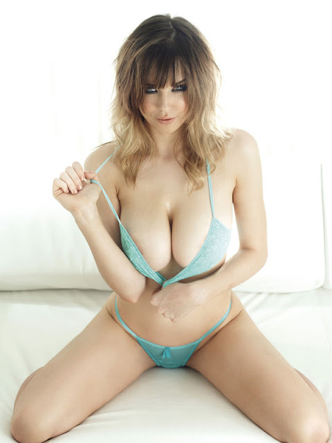 Danielle Sharp sexy in blue lingerie
