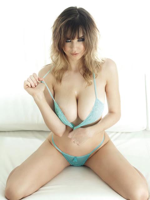 Danielle Sharp sexy in blue lingerie