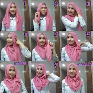 Tutorial cara memakai jilbab paris segitiga simple
