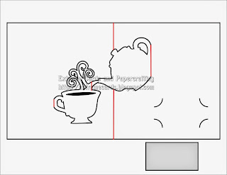 Teapot and cup pop up card for Free popup card templates