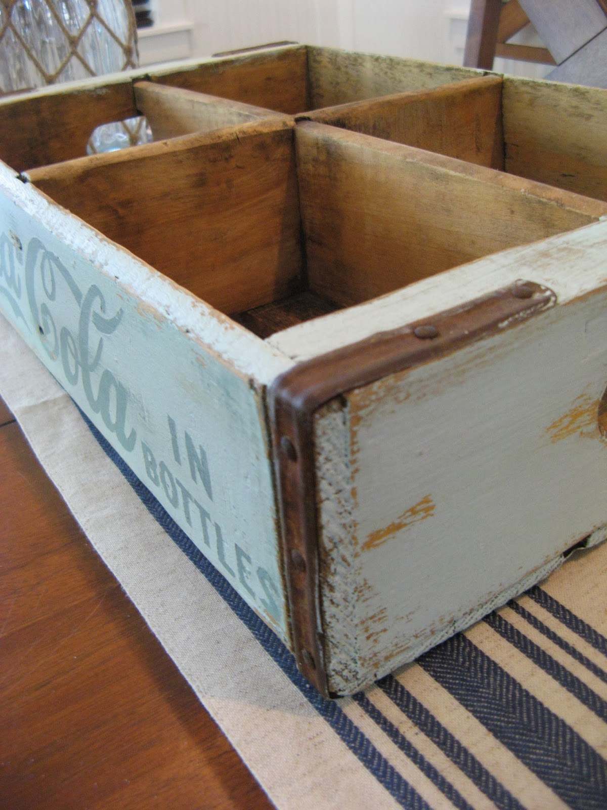 Beachy Wooden Coca-Cola Crate - sandpaper distressed