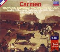 Bizet, Georges (1838-1875) Carmen [Grabación sonora]: opéra-comique en quatre actes. Georges Bizet; livret d'Henri Meilhac et Ludovic Halévy d'après une nouvelle de Prosper Mérimée. London: DECCA, 1985.