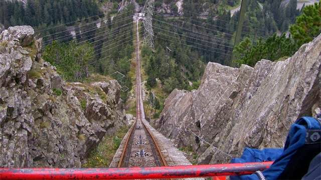 The Gelmerbahn funicular is a funicular railway in the canton of Bern, Switzerland. It links a lower terminus at Handegg, in the Haslital (the valley of the upper Aar River), with an upper terminus at the Gelmersee lake. The Gelmerbahn is the steepest funicular in Switzerland and Europe.