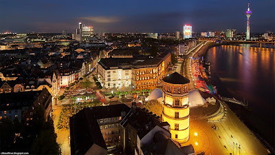 Düsseldorf Colourful German City Beautiful Night View Germany Hd Desktop Wallpaper