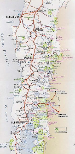 Mapa rutero de chile zona Sur