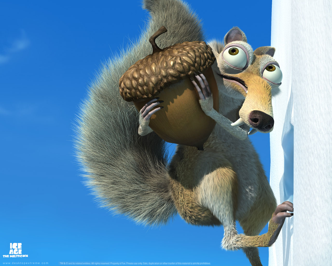 Scrat carrying his acorn in Ice Age: The Meltdown animatedfilmreviews.filminspector.com
