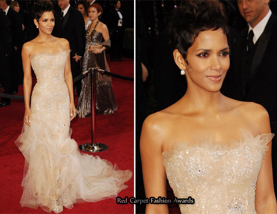 How fabulous was Halle Berry's gown? She wore this nude and crystal ...