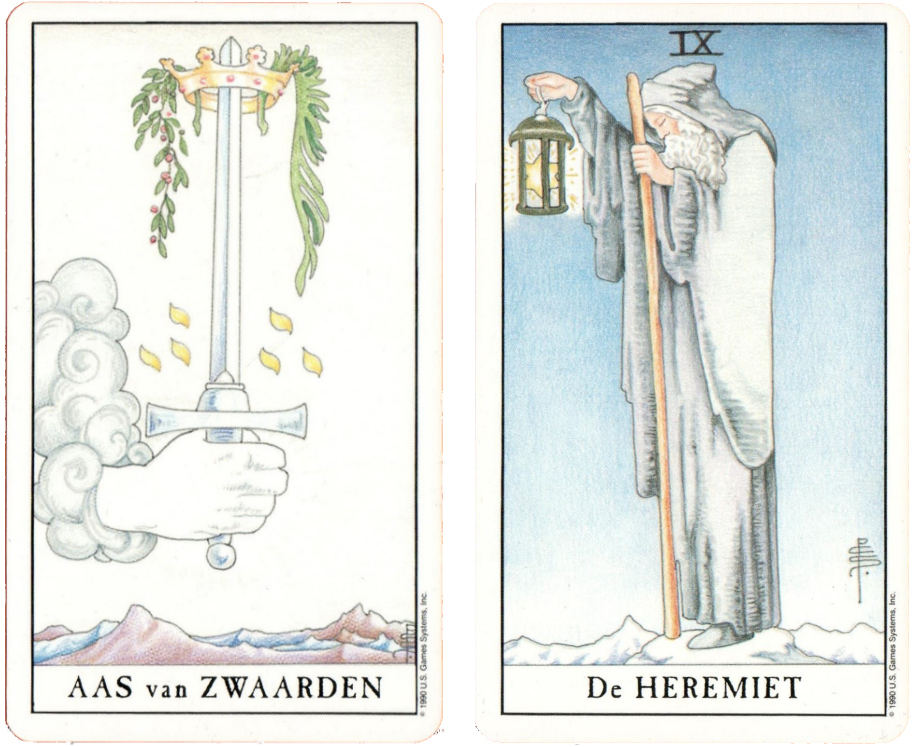 Universal Waite Tarot, Ace of Swords,The Hermit