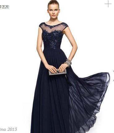 Vestido de fiesta azul indigo