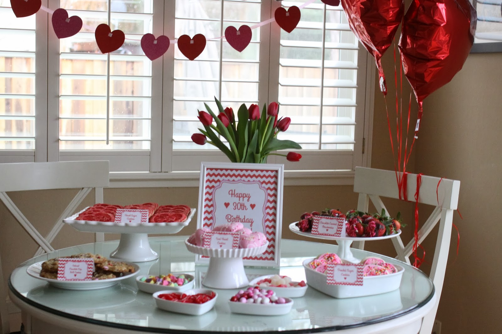 The larson lingo a 30th birthday party heart theme for 30th party decoration ideas