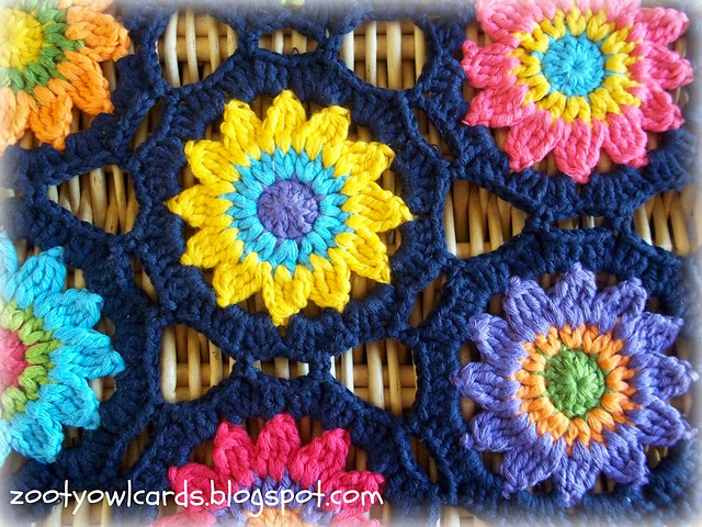 free crochet pattern sunny flowers motif