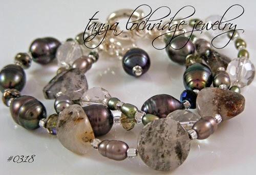 Pyrite Quartz Gemstone & Pearl Bracelet