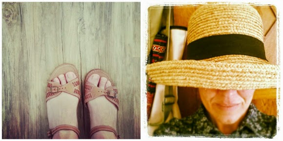 katiecrackernuts.bogspot.com || thrifted sandals and sun hat