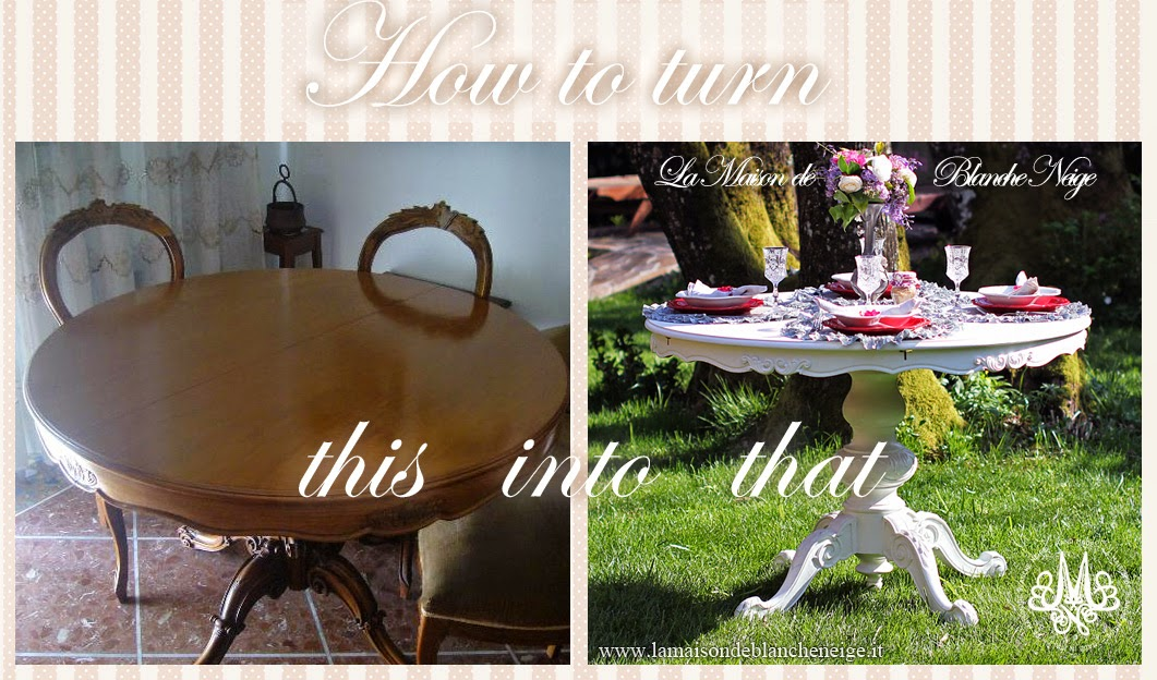 Tavolo Da Pranzo Shabby Chic : Atelier biancaneve recupero di un tavolo da pranzo in stile