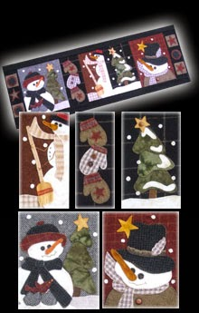 "Snowman Parade Wool Applique Wallhanging  13"" by 37"""