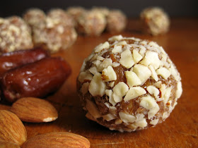 these honey almond date balls would work well as a healthy thanksgiving dessert recipe