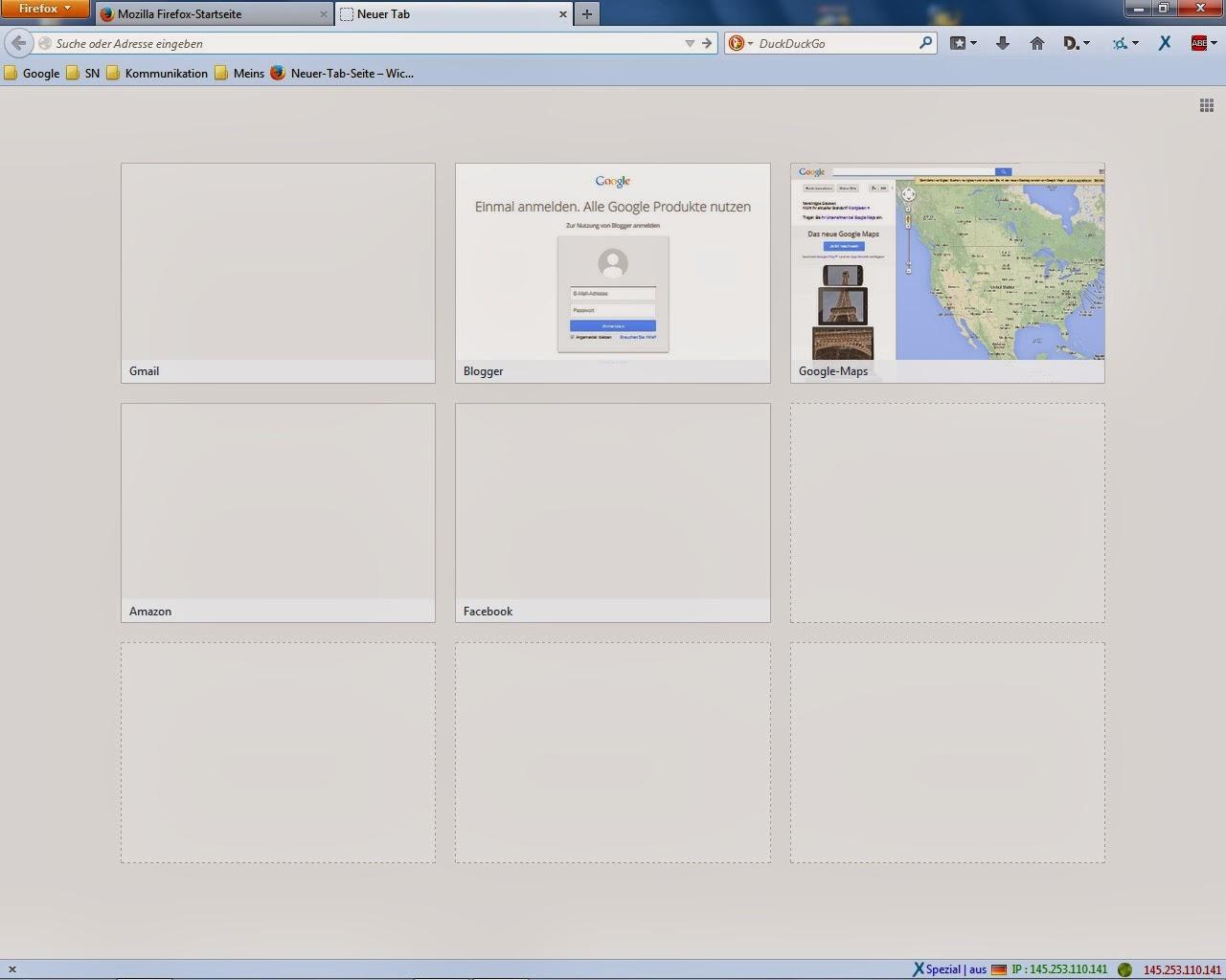 Firefox - Neuer Tab Seite