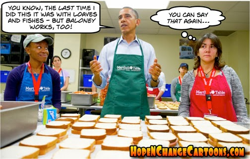 obama, obama jokes, cartoon, hope n' change, hope and change, stilton jarslberg, conservative, obama, baloney, bologna, food bank, asshole, loaves and fishes, pie
