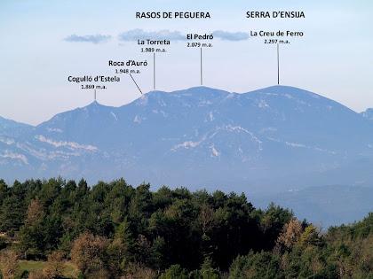 Cap a ponent s'aixeca la massa muntanyosa dels Rasos de Peguera-Serra d'Ensija, destacant-ne la Roca d'Auró i el Cogulló d'Estela