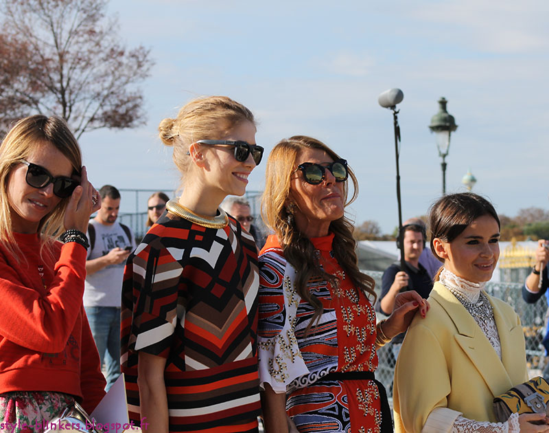 Carlotta Oddi, Elena Perminova, Anna Dello Russo and Miroslava Duma.at The Chloe S/S 2013 Ready-To-Wear Show during Paris Fashion Week