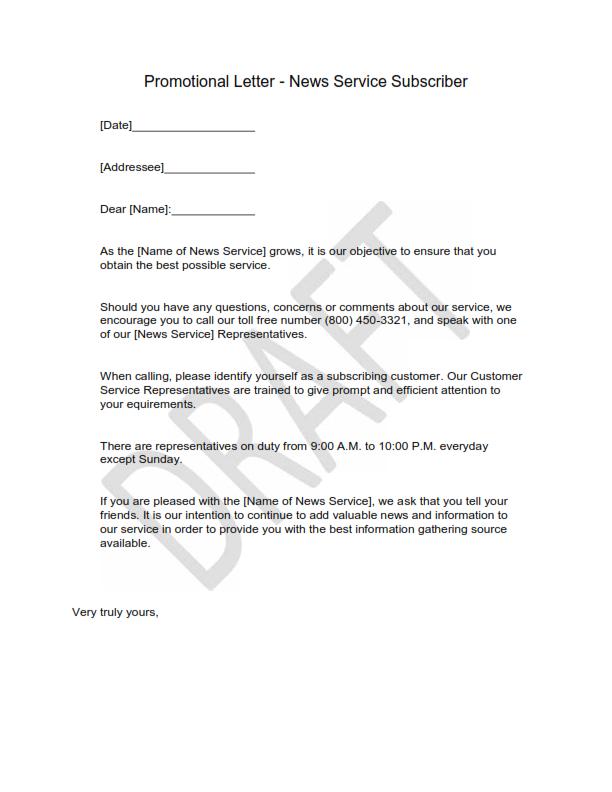 Promotional Letter 1