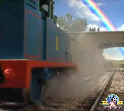 Thomas train Annie & Clarabel top of big express Gordon's hill the end of a rainbow in the sky