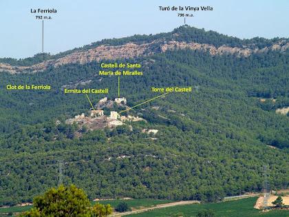 Zoom a la zona del Castell de Miralles des del Coll de la Llebre