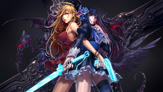 Sword Gun Blonde Blue Haird Sexy Fighter Girl Female Anime HD Wallpaper Desktop PC Background 2016