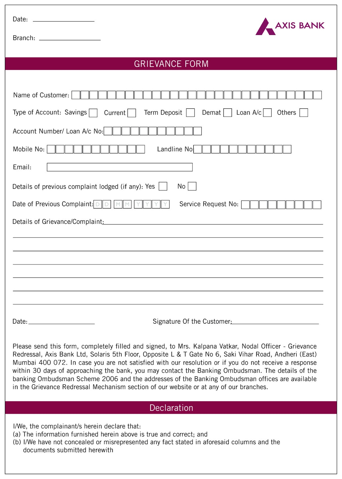 posting form http www axisbank com download grievance form pdf