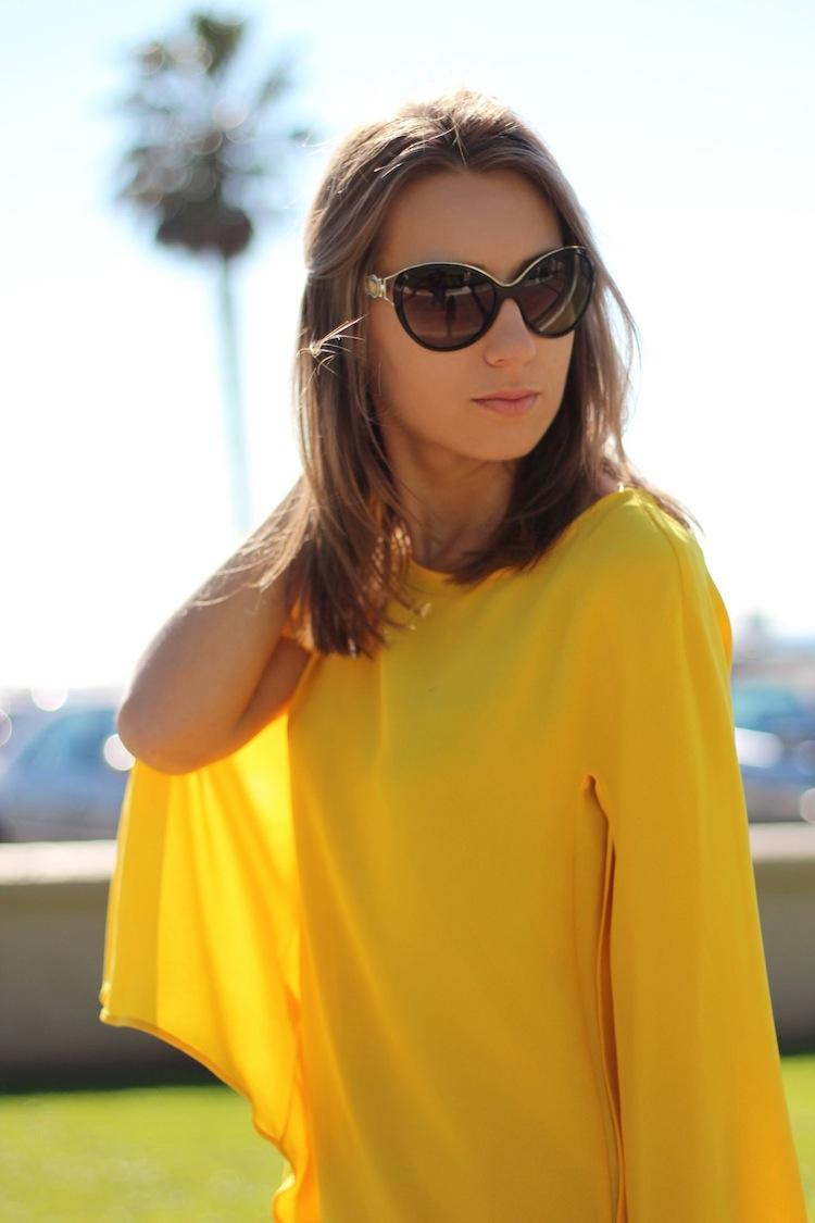 Zara yellow dress cape sleeve