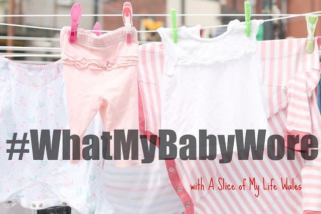 pink baby clothes on washing line with text over #whatmybabywore with a slice of my life wales