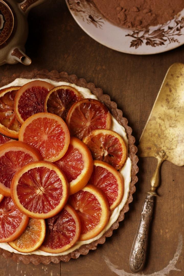 Blood Orange Tart with Mascarpone Filling and Chocolate Crust