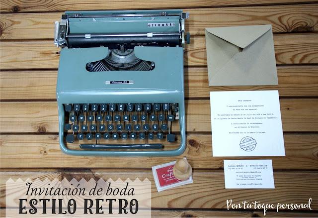 invitacion boda tipografia de maquina de escribir