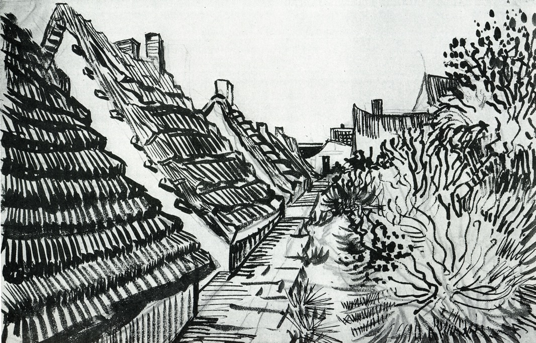 1888 street in saintes maries pen and ink 30 5 x 47 cm