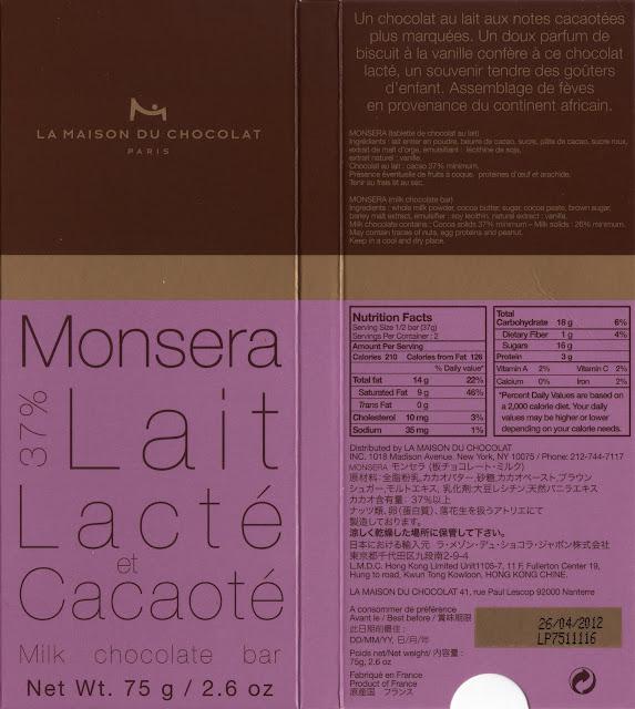 tablette de chocolat lait dégustation la maison du chocolat monsera lait 37
