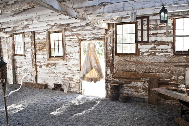 Vintage Rustic Farm Wedding Catskills dress hanging in barn