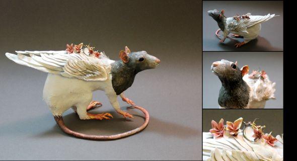 Ellen Jewett CreaturesFromEl deviantart esculturas surreais mixed animais Um pequeno rato
