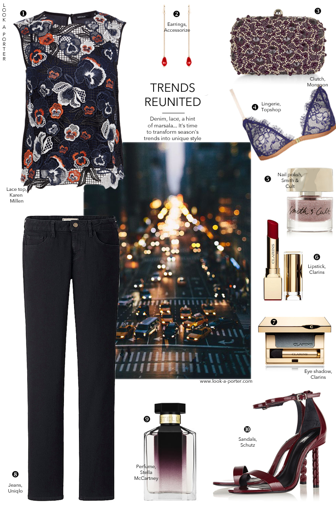 How to style a denim outfit / how to style / outfit inspiration / denim outfit ideas and inspration / Uniqlo, Karen Millen, Clarins, Stella McCartney, Schutz, Accessorize, Monsoon / via look-a-porter.com, style & fashion blog